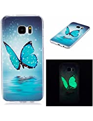 Ecoway Samsung Galaxy S7 edge Luminous Case Cover, Coque de téléphone IMD Silicone Housse en silicone Housse de protection Housse pour téléphone portable pour Samsung Galaxy S7 edge - Papillon