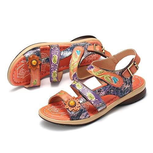 Gracosy Sandales Cuir Femmes Plates, Chaussures Été à Talons Plats Semelle Confortable Sandales...