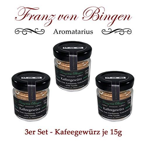 Franz von Bingen - 3er Set Kaffeegewürz / Gewürz für Kaffee, Tee, Kakao oder Süßspeisen - (3 x 15g) mit echter Vanille - Gewürzmanufaktur