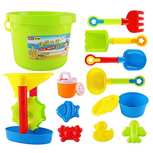Gettesy 13 Teilig Sand Spielset Kinder Sandkästen und Sandspielzeug Strandspielzeug Pädagogisches Spielzeug mit großem Eimer und Sanduhr für Kinder kinderspielzeug ab 2 Jahren