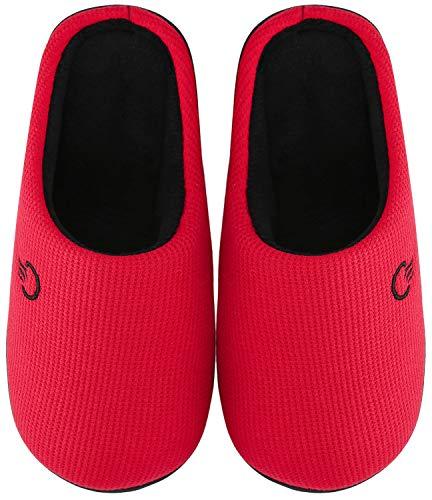 Mishansha Zapatillas de Estar en Casa Hombre Mujer, Zapatillas Casa Memory Foam para Invierno Otoño, Cómodas/Blanditas/Mulliditas y Calientes(Rojo, 36/37 EU)
