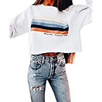 Bellelove❤ Ms. Rainbow Gestreifter Pullover, Frauen Langarm Rainbow Stripe Kurzes Sweatshirt Rundhals Pullover Letter Top