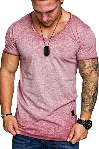 Amaci&Sons Oversize Herren Vintage T-Shirt Verwaschen V-Neck Basic V-Ausschnitt Shirt 6034 Bordeaux M - 2