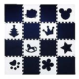 H Cadeau Bunt Puzzlematte Schaumstoff Puzzle Matte Kinder Spielteppich Spielmatte Baby krabbeln Boden Schlafzimmer Yoga Turnhalle 30*30cm 18 teilig (Weiß Cartoon+Schwarze)
