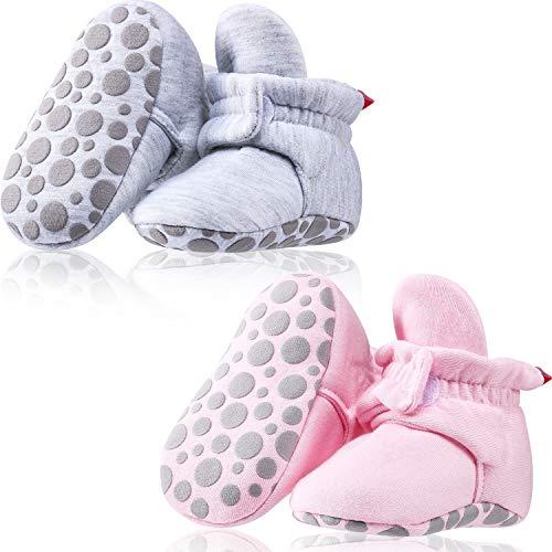 SATINIOR 2 Paar Baby Fleece Booties Bleiben auf Slipper Socke Krippe Schuhe mit Rutschfesten Boden (Baumwoll Stil) -