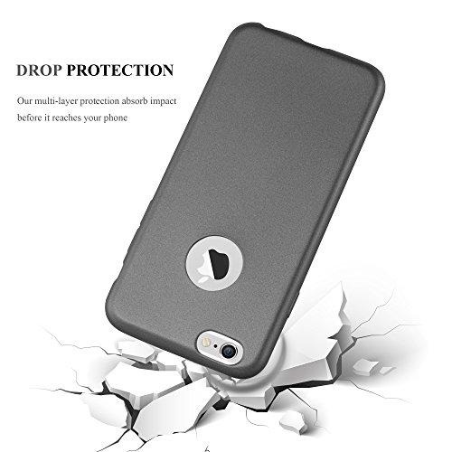 Cadorabo - Ultra Slim TPU Gel (silicone) Coque Métallique Mat pour Apple iPhone 6 / 6S - Housse Case Cover Bumper en METALLIC-ROUGE METALLIC-GRIS