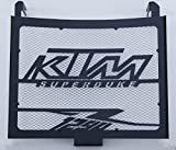 Kühlerverkleidung/Kühlerabdeckung 1290 R Superduke Mattes Schwarz + weißes Schutzgitter