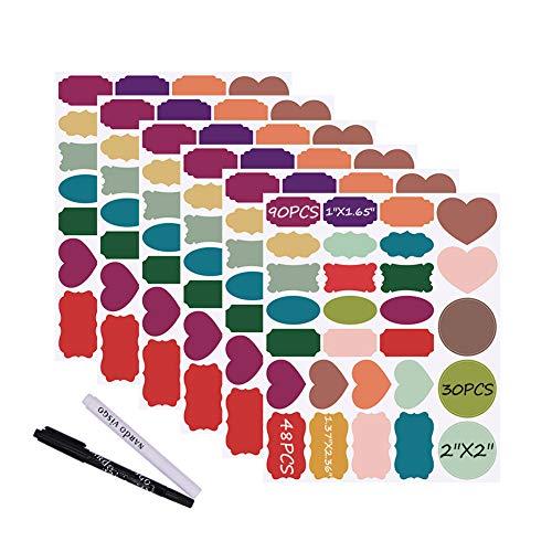 Nardo visgo® Colored Lavagna Adesivi Etichette: 168Premium + 2gesso markers-waterproof rimovibile adesivi lavagna, riutilizzabili, ideale per decorare la Mason Jars riposterie artigianato e uffici