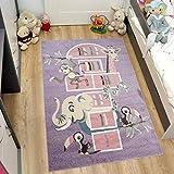Tapiso HAPPY Kinder Teppich Kurzflor Designer Lila Mehrfarbig mit Modern Tiere Muster Ideal Spielteppich für Kinderzimmer ÖKOTEX 120 x 170 cm