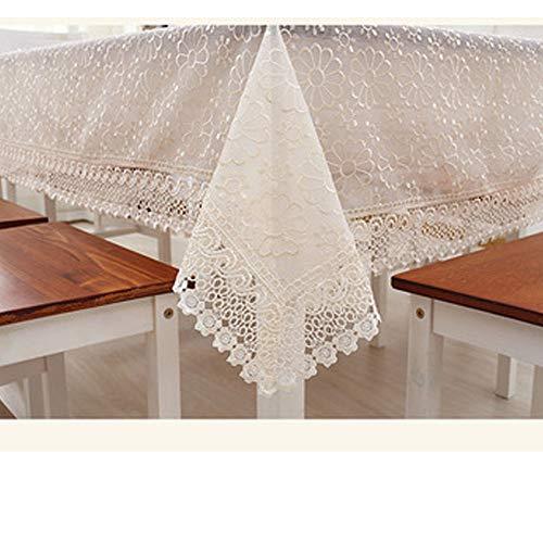 Zweischichtige Glasgarnstickerei Gartentischdecke Fernsehmöbel Couchtischdecke mit Abdecktuch quadratische runde Tischdecke,lightcoffee,130 * 130cm