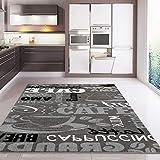 Trendiger Kaffee Teppich, verschiedene Schriftarten und Muster, Meliert in Grau, Weiß und Schwarz ideal für die Lounge oder Küche - ÖKO TEX Zertifiziert, Maße:120 cm x 170 cm