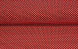 Qualitativ hochwertiger, gemusterter Bio Jersey Stoff mit weißen Punkten auf Rot Meterware mit Öko-Tex Zertifizierung zum kreativen Nähen von Kinder- und Erwachsen Kleidung, 50 cm