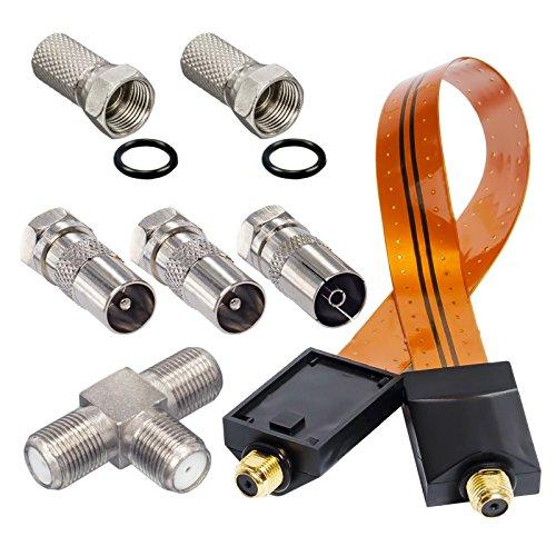 """HB-DIGITAL Adapter-Set. 2 DVB-T/T2 Receiver mit nur einer aktiven DVB-T/T2 Antenne betreiben. Inkl. Fensterdurchführung """"Gold"""" Flachkabel zum Verlegen des Kabels ohne zu Bohren. Für Terrestrische Antennen mit IEC-Stecker Ausgang (Kabelanschluss)"""