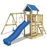 WICKEY Aire de jeux FastFlyer Maisonnette en bois jardin avec balançoire et toboggan, échelle de corde et bac à sable
