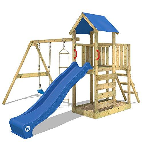 WICKEY Klettergerüst FastFlyer Spielturm Kletterturm mit Schaukel und Rutsche, Strickleiter und Sandkasten