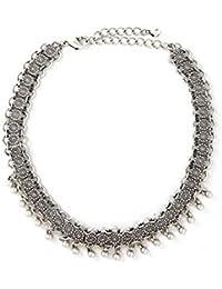 3fd2e41a8558 dama Plateado Moda Hecho a mano Perla de imitación Gargantilla Cuello de babero  Collar elegante Cadena