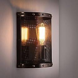 Lámpara de pared 5151BuyWorld Loft nórdica hierro neto E27 lámparas de iluminación industrial aplique coloreada moho Bar/Cafetería / Inicio decorativo regalo Luz [n bulbo]