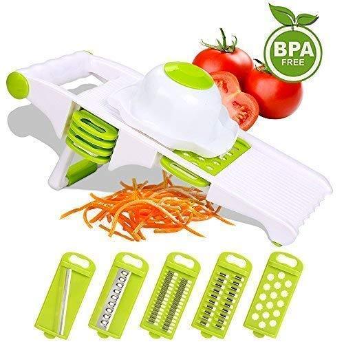 Da-upup Gemüse-Mandolinenschneider, 5-Blatt-Seitenspeicher, Premium-Gemüseschneider, Häcksler, Schäler, Julienne Slicer, Reibe, perfekt für Kartoffeln, Zwiebeln -