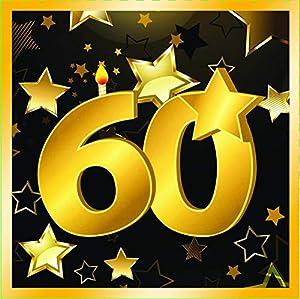 "Forum Novelties-60th Birthday Napkins 13"" (16 in pkt) Servilletas, Color black, gold (X81900)"