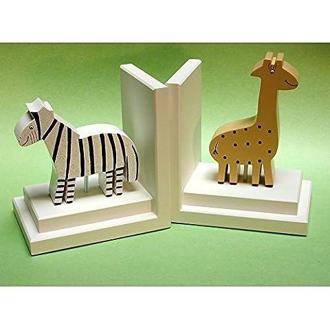 Zoo Friends Khaki Giraffe & Zebra Bookends