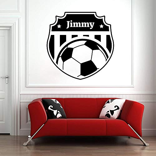 l Benutzerdefinierte Name Fußball Wandtattoo personalisierte Vinyl Aufkleber Fußball Wandbild Schlafzimmer Dekor Mädchen Jungen Zimmer Wandaufkleber für Kinder 57x57 cm ()