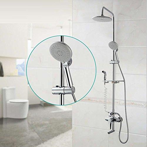 Dusche Combo Set Wand, 4 Wege-Dusche-System mit regen Duschkopf, Handbrause und Badewanne Wasserhahn Auslauf, Edelstahl (Regen Duschkopf Badewanne Combo)
