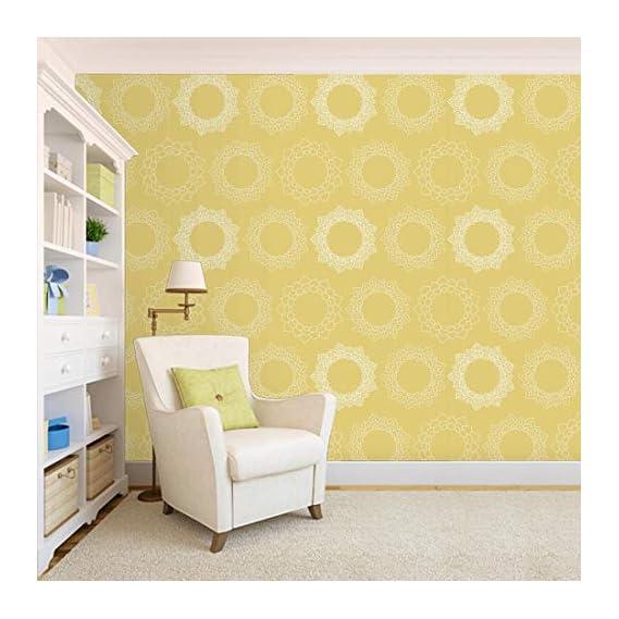100Yellow? Yellow Floral Pattern Self Adhesive Peel & Stick Waterproof Wallpaper