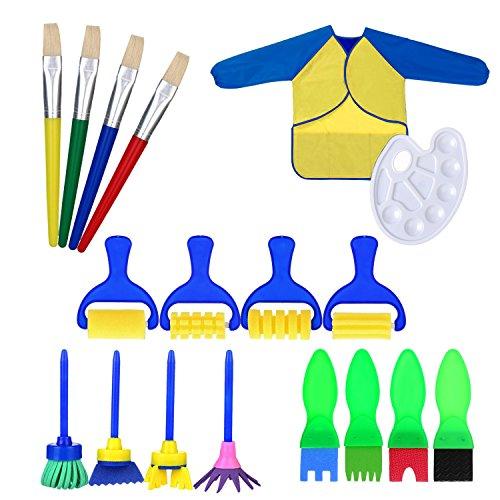 Pennelli di Spugna Pittura, KidsHobby 18 Pcs spugne da pittura per bambini Lavabile Set di Pennelli con Palette e Grembiule Bambini Strumenti di Pittura per Apprendimento Precoce