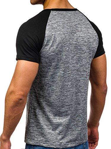 BOLF Herren T-Shirt Tee Print Slim Fit Kurzarm Party Classic MIX 3C3 Motiv Anthrazit_S001