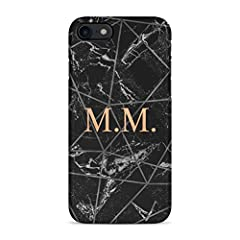 Idea Regalo - Personalised Customizable Letters Name Initials Custom Quote Black Geometric Marble Custodia Protettiva In Plastica Rigida Cover Per iPhone 7 / iPhone 8 Case