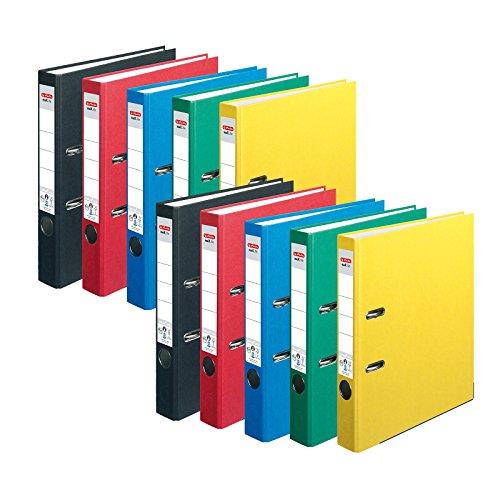 HERLITZ Ordner maX.file nature+ A4 5cm | Kraftpapierbezug selbstklebendes Rückenschild | 10er Sparpack in diversen Farben zur Auswahl (Sortiert Grundfarben)