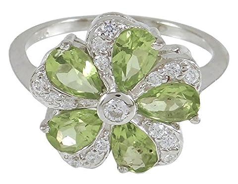 Banithani 925 Sterling Silver Beautiful Charm Peridot Gemstone Ring Indian Fashion Jewellery