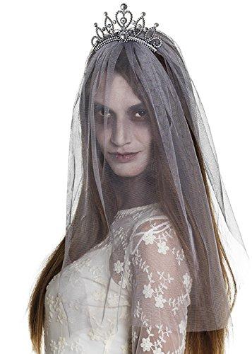 ut Grau Tiara mit Schleier (Kinder Corpse Bride Kostüm)