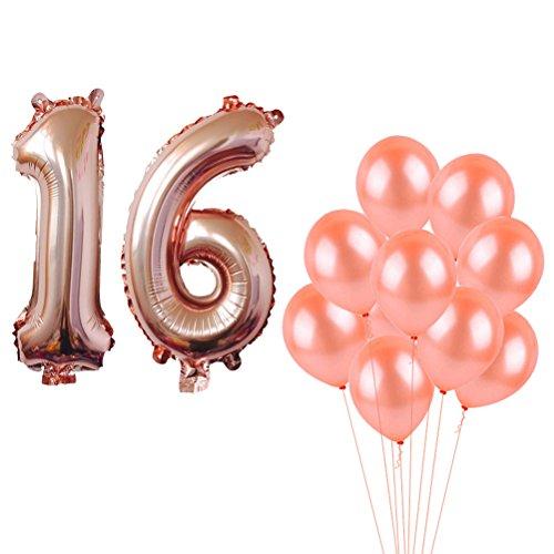 TOYMYTOY 16 Jahre alt Geburtstagsparty luftballons 80cm Anzahl luftballons und 32cm Latex Ballons 10 Stück (Anzahl Luftballons Folie)