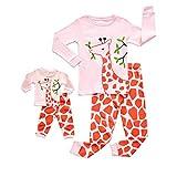 MRULIC Jungen und Mädchen Pyjamas Baby Cartoon Hirsch Muster Tops und Hosen Nachtwäsche Passende Sets(Rosa,130-140CM)