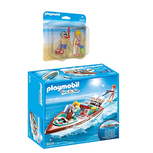 PLAYMOBIL Family Fun 2er Set 9428 9449 Motorboot mit Unterwassermotor + Duo Pack Strandurlauber