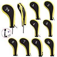 EDATOFLY 10 Pieces Golf Iron Head Covers Long Neck Number Printing Irons Head Covers Set and 1 Piece Golf Iron Club Brush (Black+Yellow)