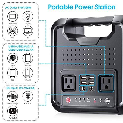 WANGTAO Central Eléctrica Portátil Generador De 300 Vatios Y 54000 Mah, Fuente De Alimentación Recargable Múltiple 110-240 V Conector De...