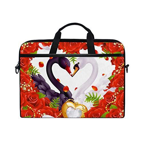 Ahomy 14-15,4 Zoll Laptop Tasche Valentinstag Red Heart Rose Swan Canvas Stoff Laptop Tasche Bussiness Handtasche mit Schultergurt für Damen und Herren Rose Swan