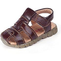 Eagsouni® Sandalias Punta Cerrada para Niños, Suave Sandalias de cuero para niño Anti-deslizante Zapatos de Playa,tamaño:21-36