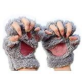 MAXGOODS 1 Paar Nette Fingerlose Pfote Plüsch Handschuhe, Katze Bär Paw, aus Künstlich Faux Pelz für Frauen Damen - Grau