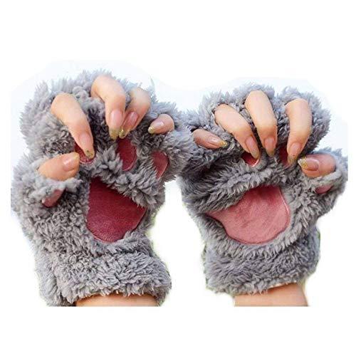 Katze Kostüm Werwolf - MAXGOODS 1 Paar Nette Fingerlose Pfote Plüsch Handschuhe, Katze Bär Paw, aus Künstlich Faux Pelz für Frauen Damen - Grau
