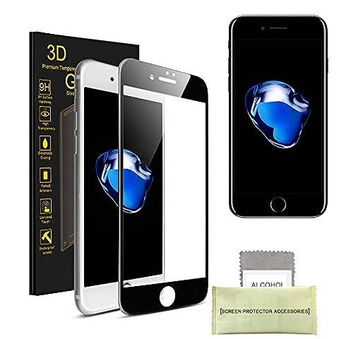 AKPATI iPhone 6s/iPhone 6 Protection d'écran 4D Prime Protecteur d'Ecran en Verre Trempé Protecteur d'écran Protection (4.7 pouce) Anti-rayure Anti-traces - Noir