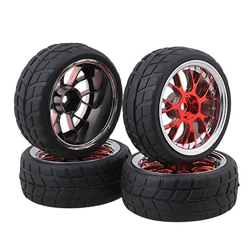 BQLZR 4PCS RC 1:10 Racing Car Y shape Hub Wheel Rim Grid Grain Tires Red and Black