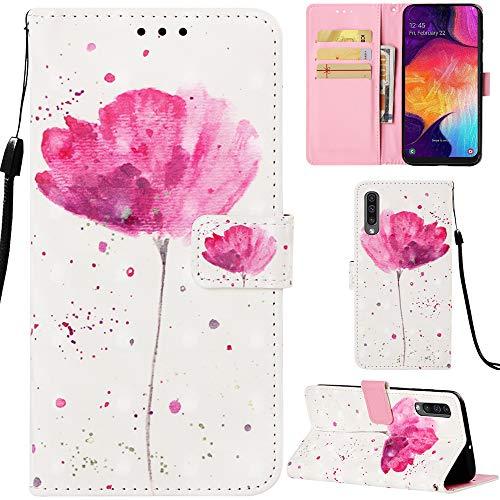 DodoBuy Samsung Galaxy A50 Hülle 3D Flip PU Leder Schutzhülle Stand Handy Tasche Brieftasche Wallet Case Cover für Samsung Galaxy A50 - Blume Lila Wallet Case Cover