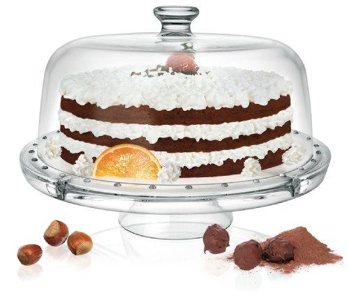 Présentoir à gâteaux multifonction avec cloche en verre