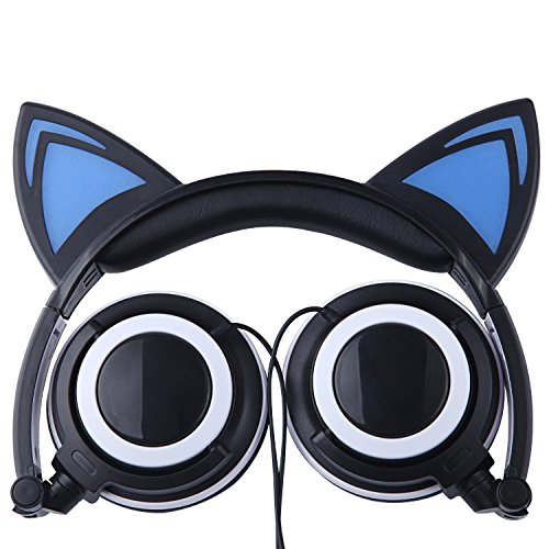 Price comparison product image Cat Ear Headphones, Flashing LED Glowing Lights Cat Ear Headphones Foldable Over-Ear Cosplay Fancy Gaming Headset Earphone For Smartphone, Tablet, and Any Other Device with 3.5mm Headphone Jack