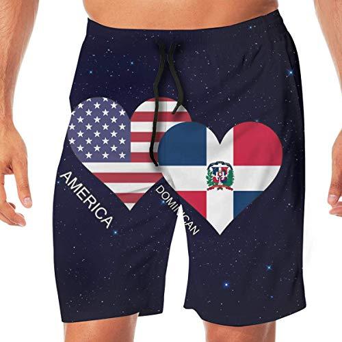 sheho Amerika Dominikanische Flagge Herz Herren Badehose Beachwear Athletic Shorts, Beachwear Sport Laufhose mit Taschen Größe XXL (Athletic Shorts Herz)