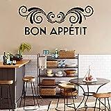 Bon Appetit Cita Etiqueta de La Pared Francés DIY Vinyl Wallpaper Impermeable para Cocina Arte de La Pared Decoración para El Hogar Comedor Decoración 43x109 cm