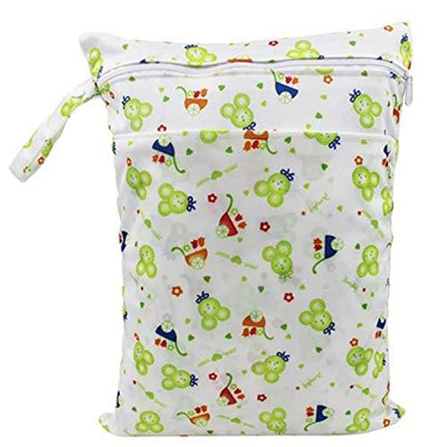 Imagen para Bolsa de pañales de 30 x 40 cm, bolsa impermeable para pañales de bebé, bolsa de pañales para pañales de bebé, bolsa de lavandería para pañales de ropa de bebé 02 Talla:talla única